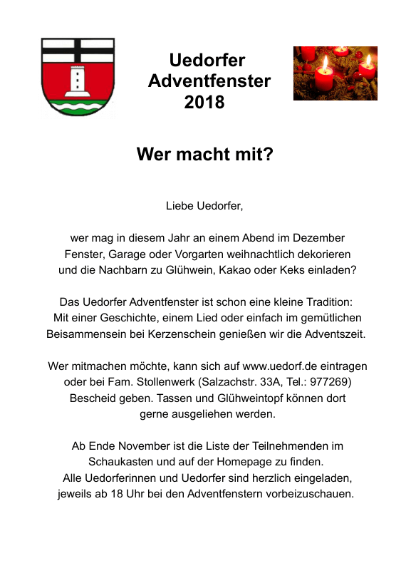 Adventsfenster Uedorf 2018